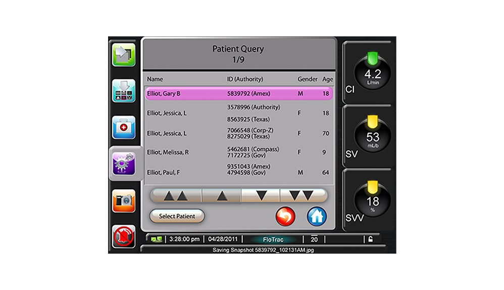 Patient query screen