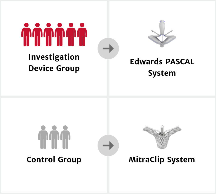 Investigation Device Group, Edwards PASCAL System, Control Group, MitraClip System