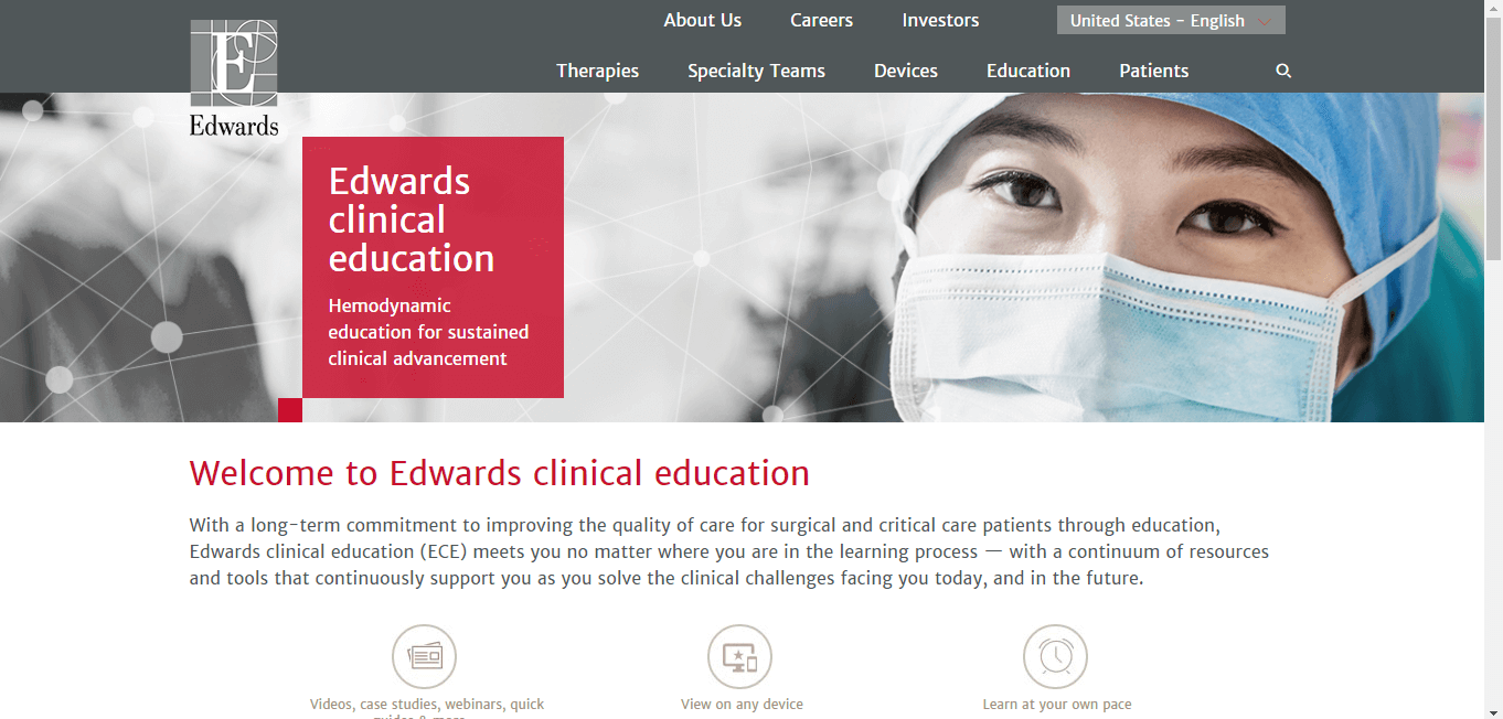 Edwards clinical education website