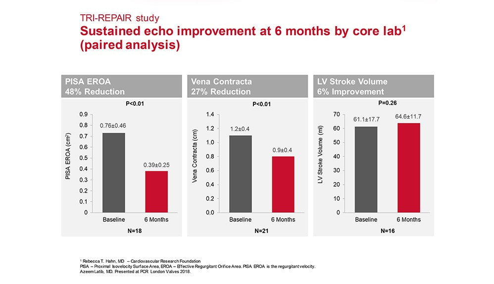 Charts showing sustained echo improvement at 6 months by core lab (paired analysis)