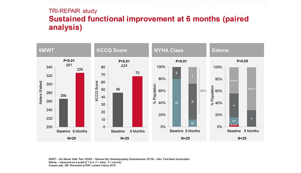 Charts showing sustained functional improvement at 6 months (paired analysis)