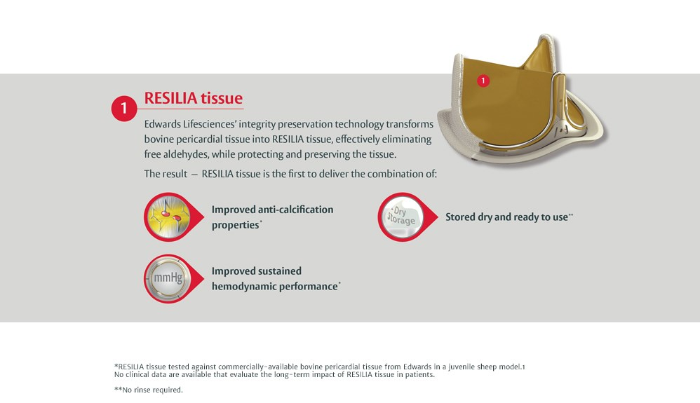 RESILIA tissue. Edwards Lifesciences' integrity preservation technology transforms bovine pericardial tissue into RESILIA tissue, effectively eliminating free aldehydes, while protecting and preserving the tissue.