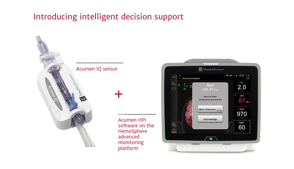 Intelligent decision support Acumen IQ Sensor and Acumen HPI Software on the Hemosphere platform